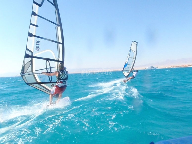 Windsurfing with friends in Girona