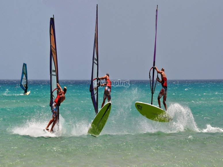 The little ones can also enjoy doing windsurfing