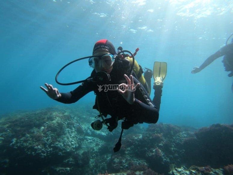Bajo el agua en el curso de buceo