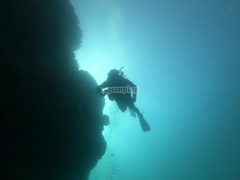 Buceando en la costa de Nerja