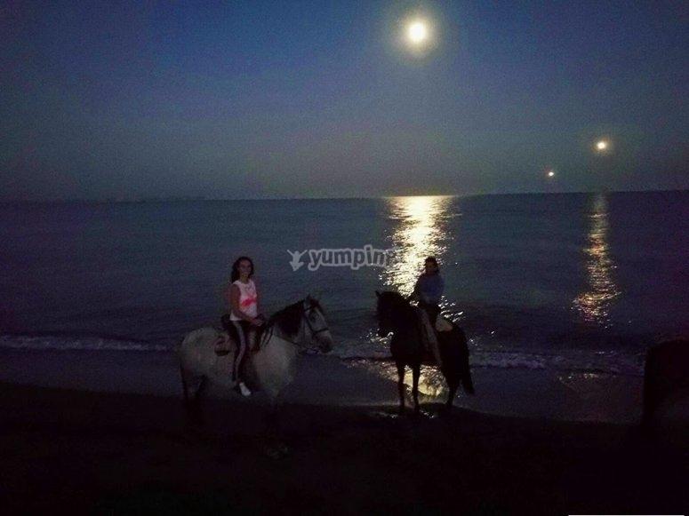 Night horse riding ride to Torremolinos beach