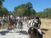 Horseback riding with a helmet