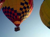 Taking off in balloon