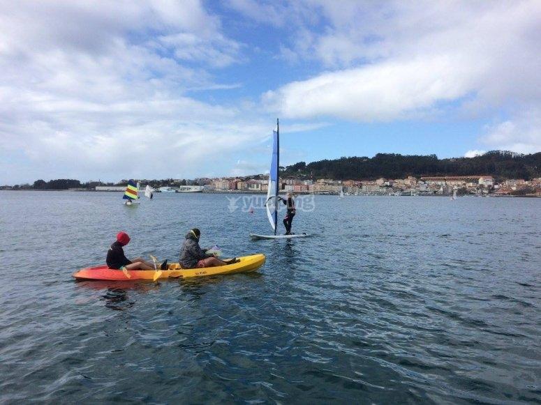 Kayak trip across Rodeira beach