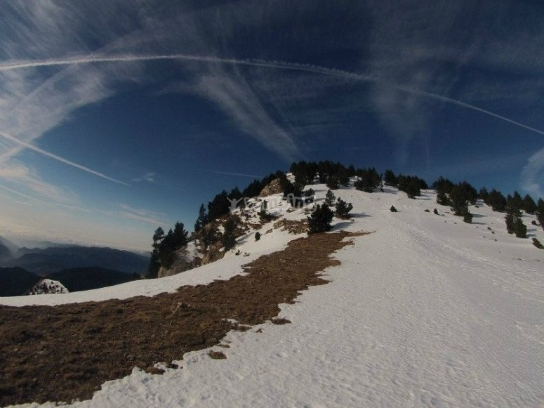Top of a snowy mountain