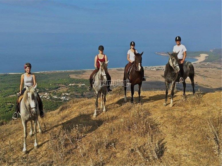 塔里法原始海滩的骑马