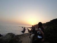 Horseback riding tour sunset Bolonia beach 1h