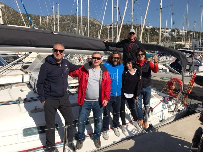 Ready to start a sailboat route along the Costa del Garraf