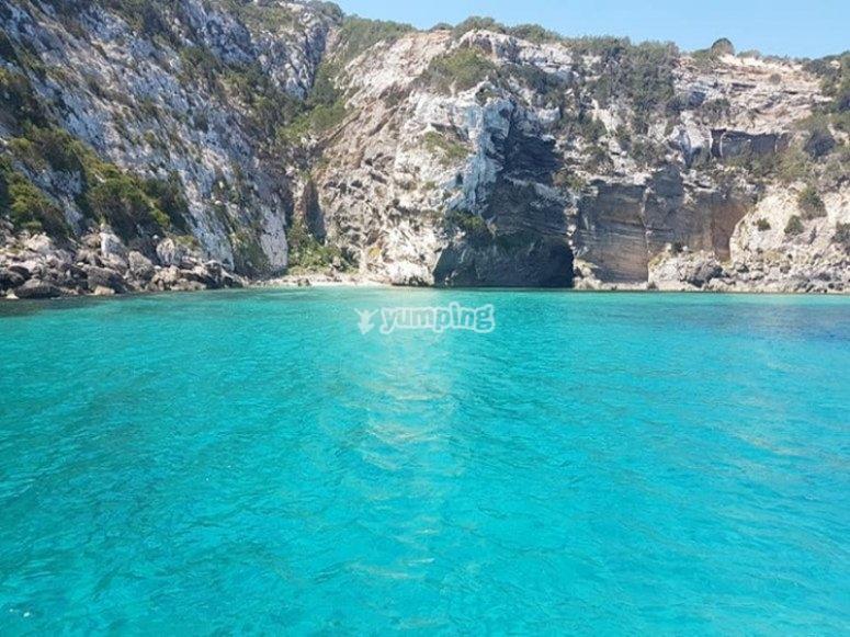 Fondeando en la cala de Formentera