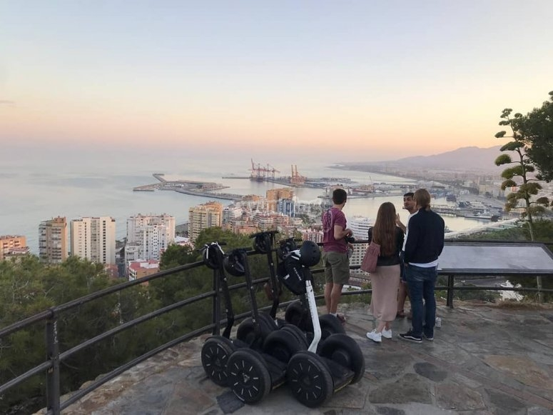Overview of the Malaga city from segway route