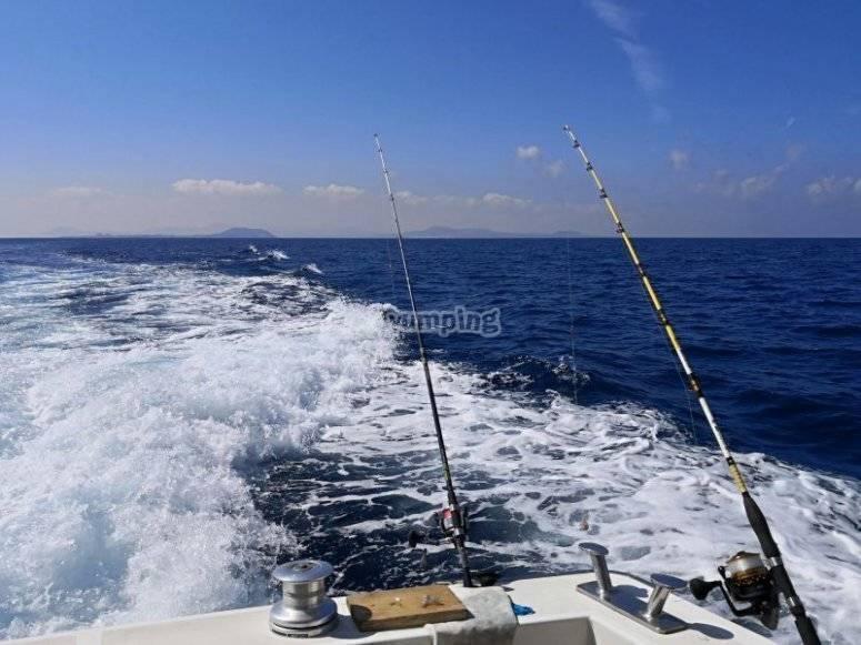 在兰萨罗特岛钓鱼日