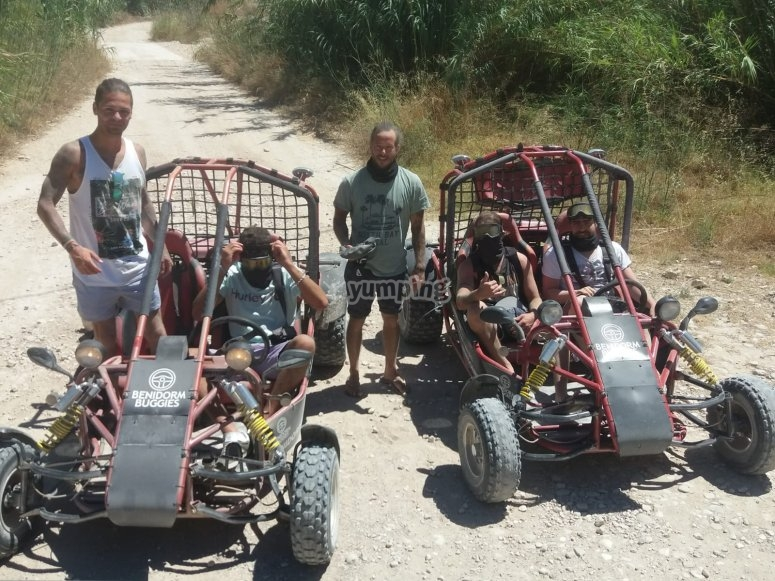 Friends making a stop with the buggies