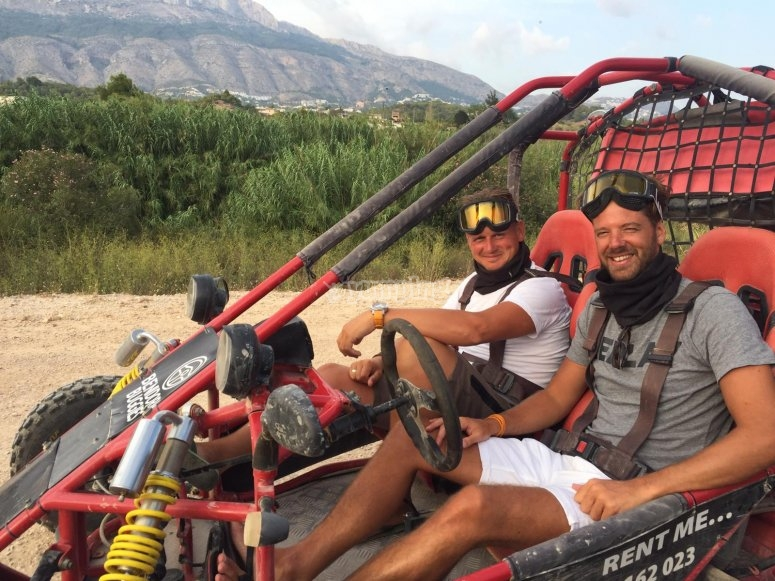 In the buggy with a friend