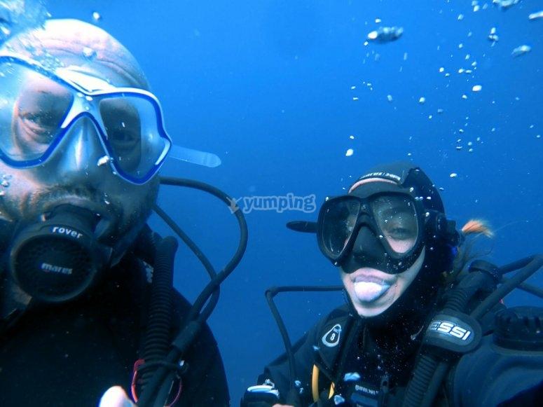 在特内里费岛潜水的好伴侣