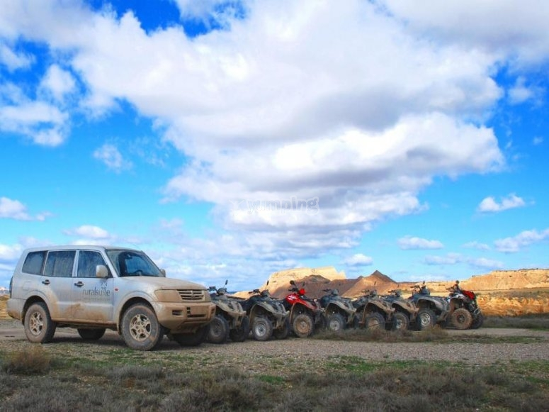Our fleet of vehicles ready to travel Bardenas Reales