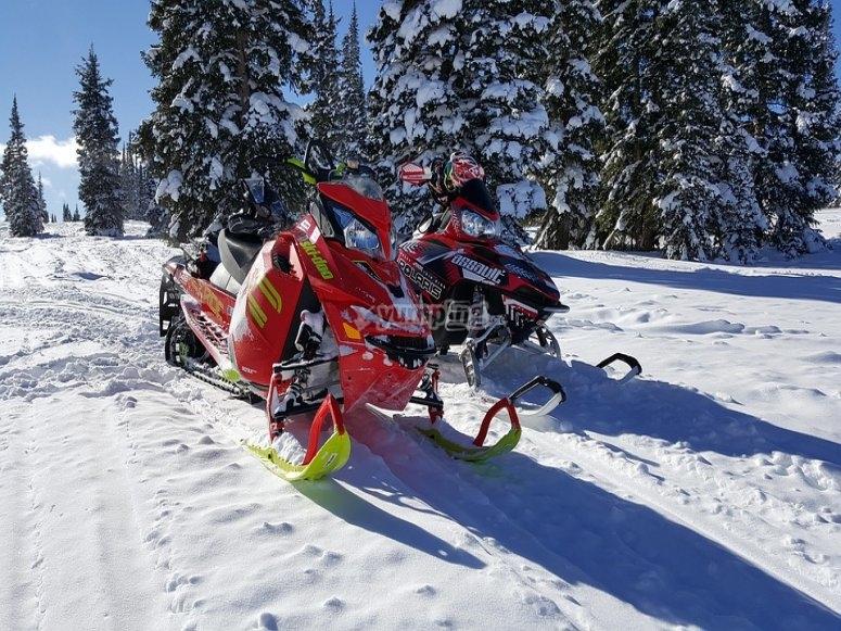 Motos aparcadas en la nieve