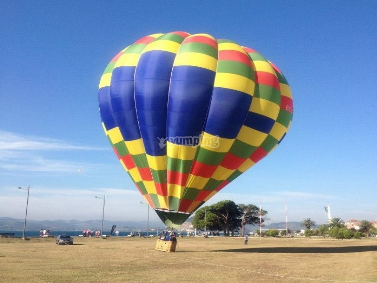 Hot-air balloon in land