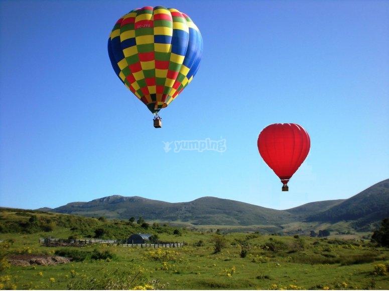 Simultaneous balloon flight