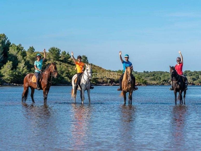 Cala Fustam -999的马匹降温-在Fustam -999湾的马背上完成路线-沿着梅诺卡岛海滩的马术路线