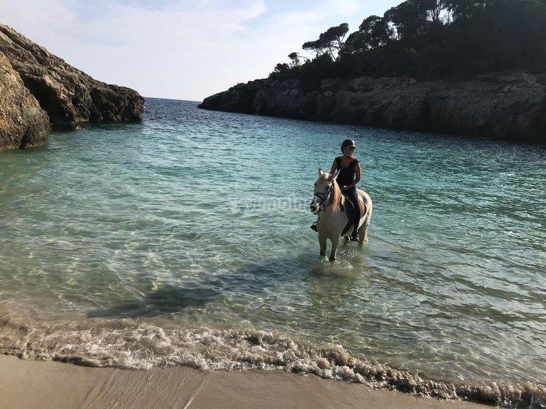 Horseback riding along the beach with the Menorca horses