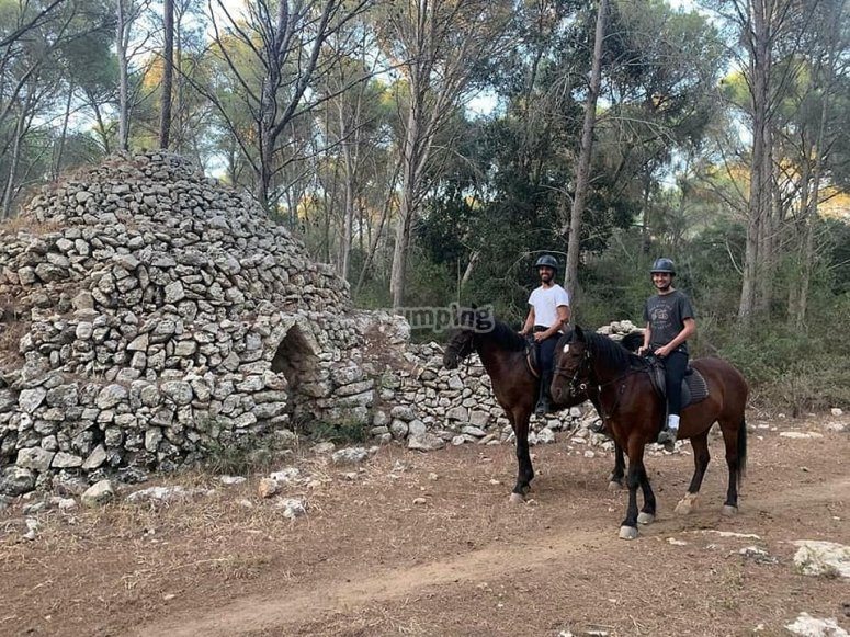 Horseback riding through the rural estate Menorca