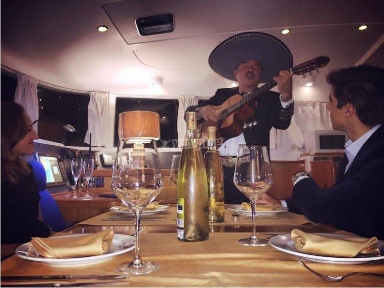 Romantic dinner on sailboat Almería