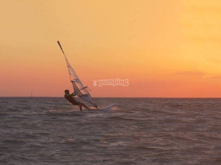 Windsurfing at sunset Torrevieja