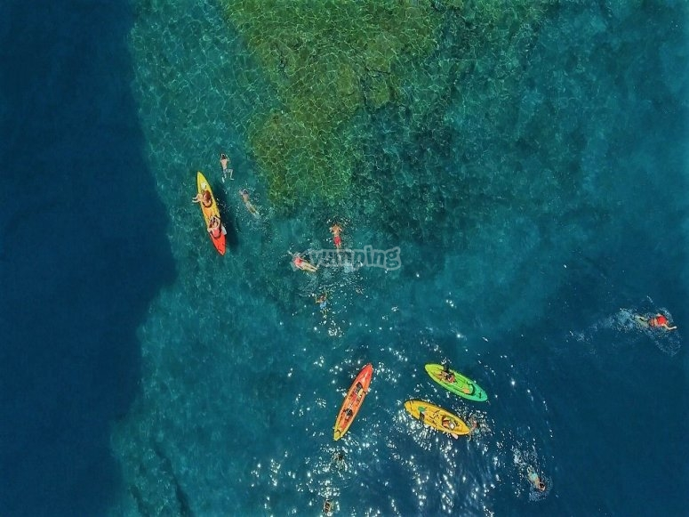 Aerial view of the canoes
