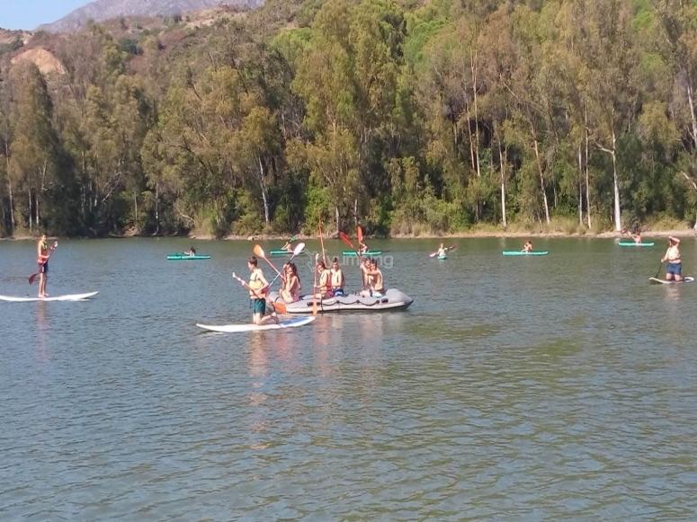 En el Lago de Las Tortugas durante la sesión de deportes acuáticos