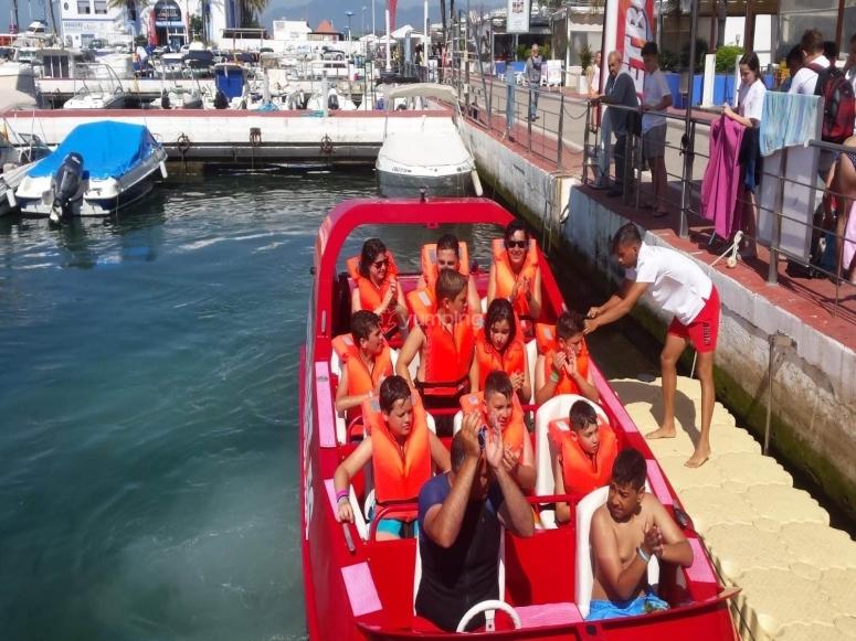 Por el Puerto Deportivo de Marbella en jet boat