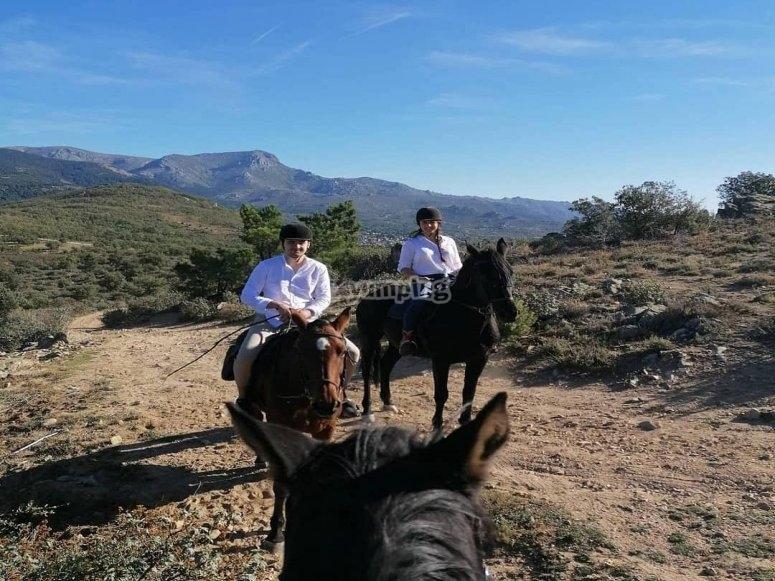 Arriving in Navacerrada on horseback