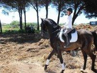 在拉巴罗萨(La Barrosa)海滩上骑马