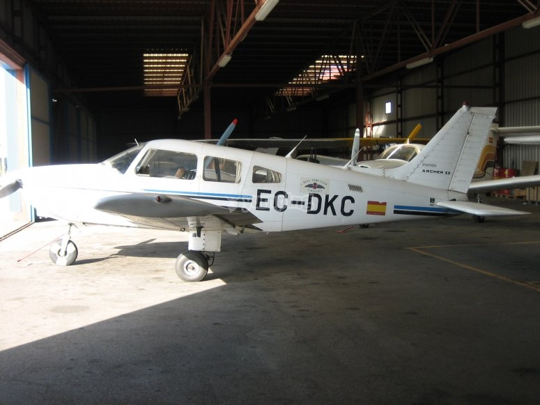 Small plane parked in our Igualada hangar