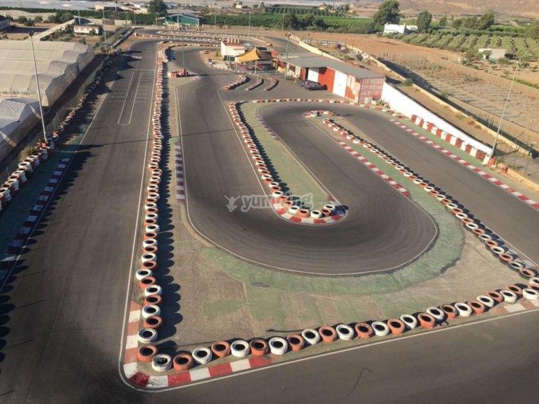 Trazado del circuito de karting en Cartagena