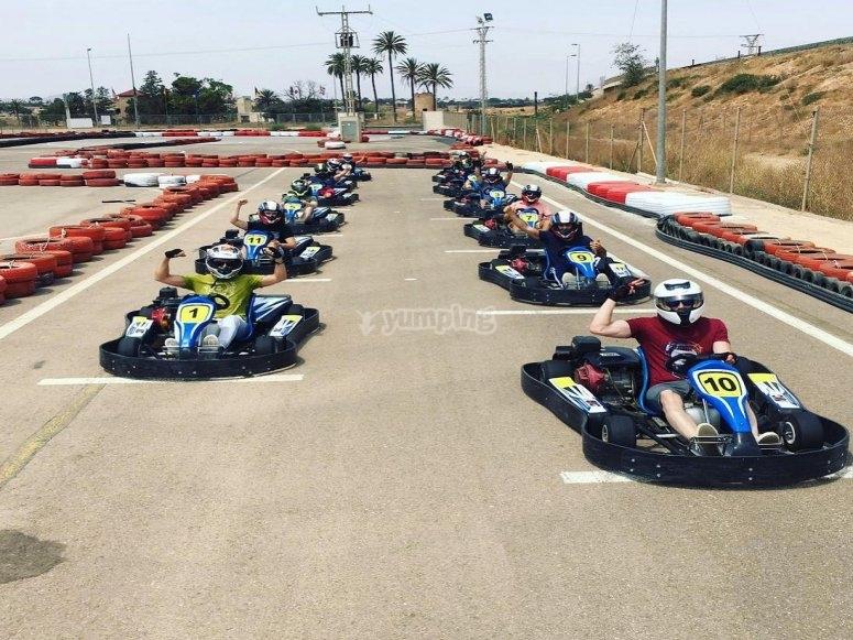 Starting grid prepared for kart racing