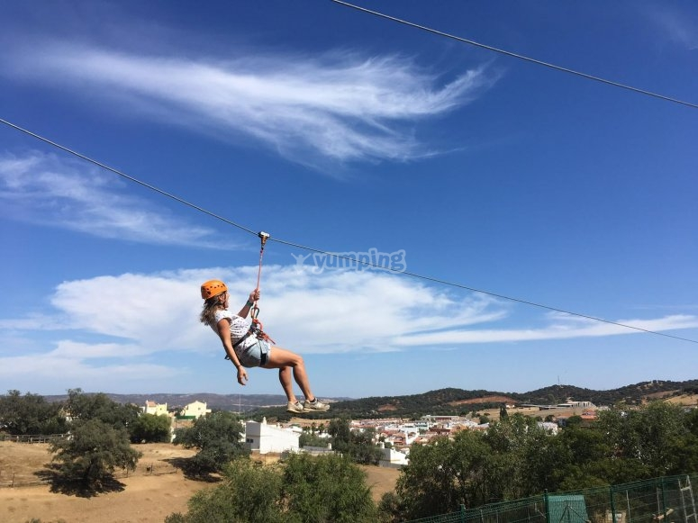 At full speed by the zip line