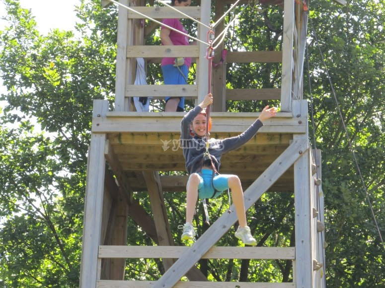 Zip line and climbing activities