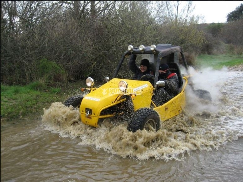 Two-seater buggy team building route through El Casar