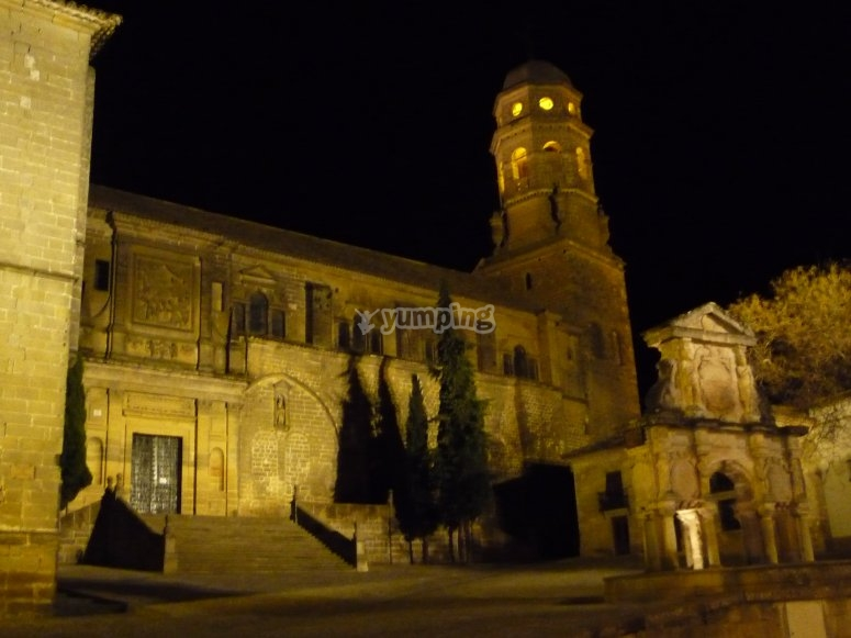 Night view of the Cathedral of the Nativity of Our Lady located in Baeza