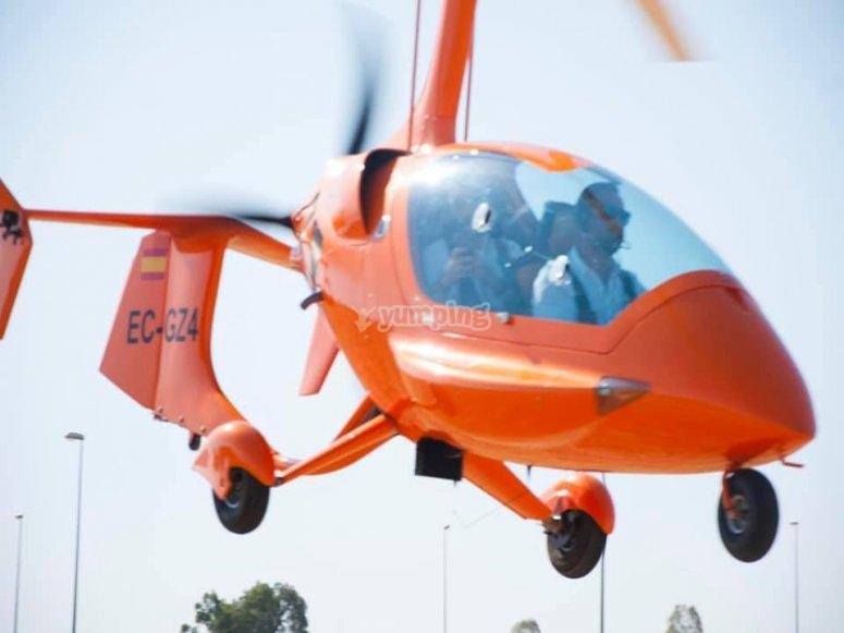 Tomando pista con el helicóptero
