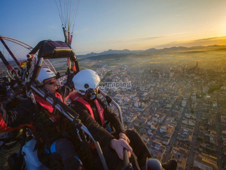 Flying over Mallorca center in paramotor