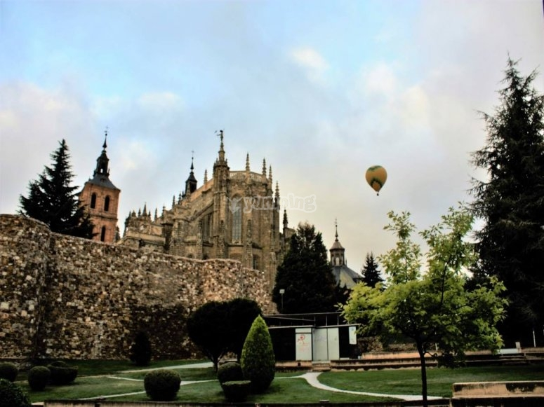 The Astorga Cathedral observed from the balloon