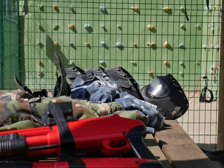 Paintball equipment ready for the battle of colors