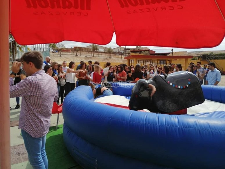 Mechanical bull during the weather