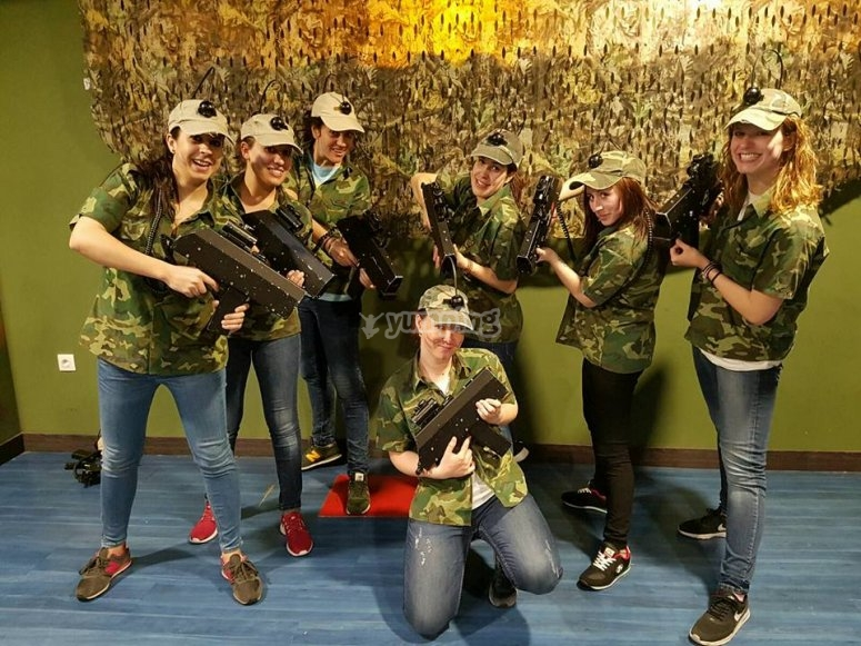 Laser tag game for bachelorette party