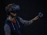 Teen immersed in virtual reality game