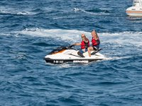 Sharing a two-seater jet ski