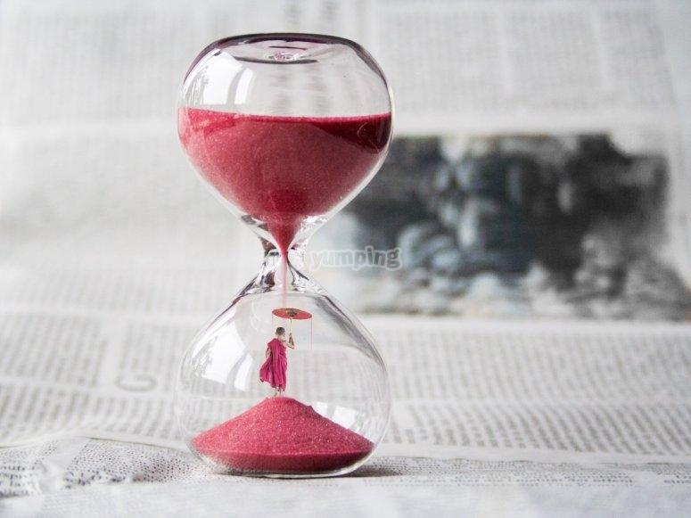El reloj de arena te va marcando el tiempo