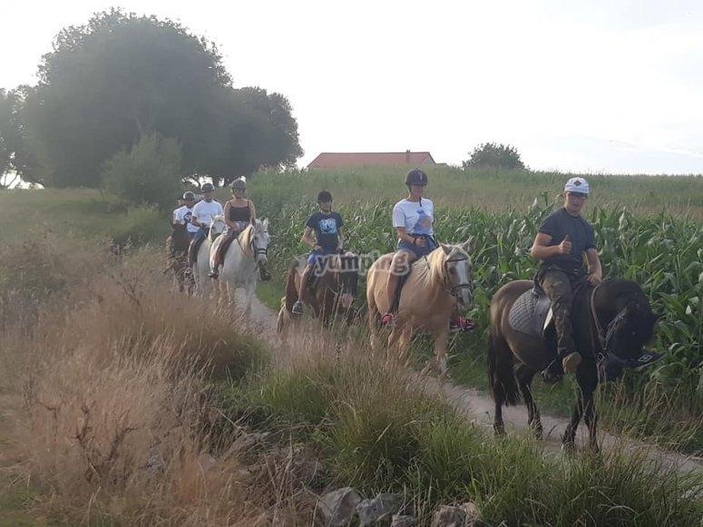 Dirt roads across Santillana del Mar on the horse