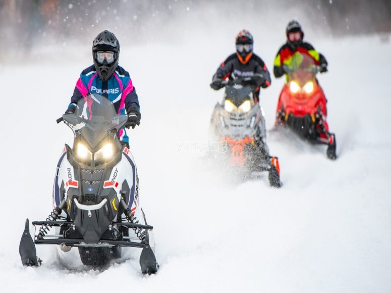 Group trip with two-seater snowmobile